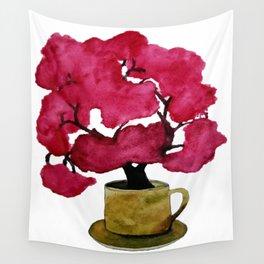 Cherry blossom Tree in Mug Wall Tapestry