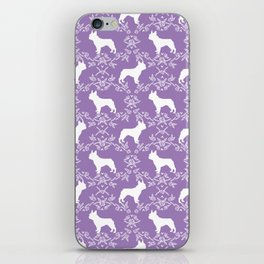French Bulldog floral minimal purple and white pet silhouette frenchie pattern iPhone Skin