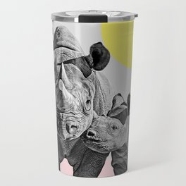 Rhino Print, Baby Rhino Print, Nursery Animal Wall Art, Safari African Animals, Black And White Travel Mug