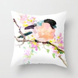 cute bird art, Bullfinch and Spring Throw Pillow