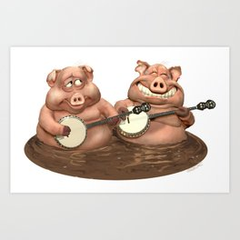 Pick'n'Grin Happy Musical Piggies Art Print