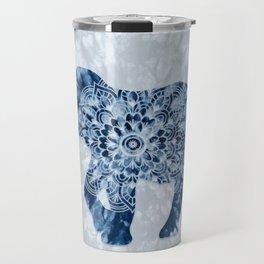 Elephant Mandala Indigo Blue Tie Dye Travel Mug