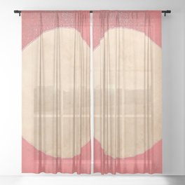 Imperial Coral - Moon Minimalism Sheer Curtain