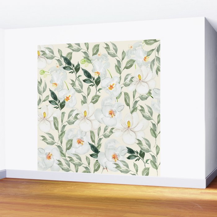Magnolia and Orchid Blossoms Watercolor Wall Mural