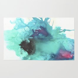 Blue Splash Abstract Watercolor Art Rug
