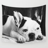 bulldog Wall Tapestries featuring French Bulldog by Falko Follert Art-FF77