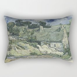 Vincent van Gogh - Thatched Cottages at Cordeville (1890) Rectangular Pillow