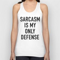 sarcasm Tank Tops featuring Sarcasm (white) by Indy