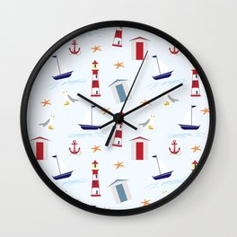 Nautical Pattern (Marine Pattern) - Blue Red White Wall Clock