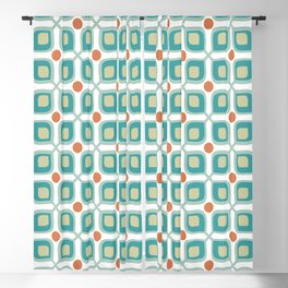 Abstract Flower Pattern Mid Century Modern Retro Turquoise Orange Blackout Curtain