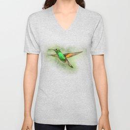 Colorful Hummingbird Illustration Bird Lover Biologist Unisex V-Neck