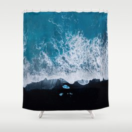 Abstract and minimalist black sand beach in Iceland with chunks of Ice and waves - moody Landscapes Shower Curtain