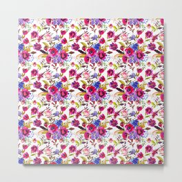 Pink lilac blue watercolor botanical floral pattern Metal Print