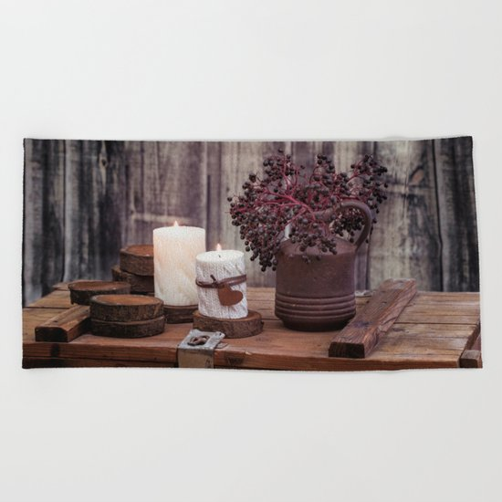 Autumn Still Life with berries and candles Beach Towel
