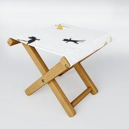 Black and yellow cats doing yoga Folding Stool