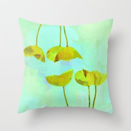 6 yellow flowers on turquoise Throw Pillow