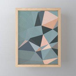 Moody urban Geometry - blue grey peach Framed Mini Art Print