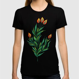 Abstract Green Plant With Orange Buds T-shirt