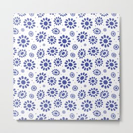 Pretty Blue White Abstract Floral Pattern Metal Print