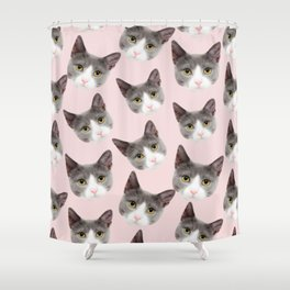 girly cute pink pattern snowshoe cat Shower Curtain