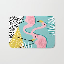 Bro - wacka design memphis throwback minimal retro hipster 1980s 80s neon pop art flamingo lawn Bath Mat