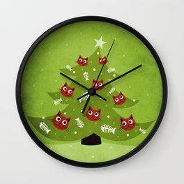 Cat Christmas Tree Wall Clock