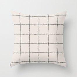 French Cream Linen Check Throw Pillow