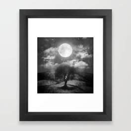 Black and white - Once upon a time... The lone tree. Framed Art Print