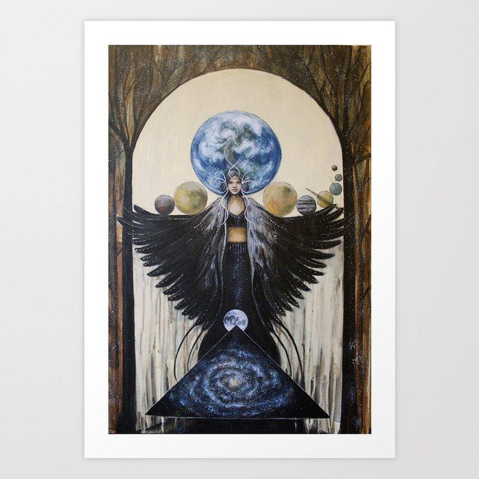 Between the Worlds // Visionary Art Woman Goddess Feminine Earth Moon Planets Stars Kunstdrucke