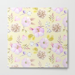 Modern hand painted pink lavender yellow watercolor floral Metal Print