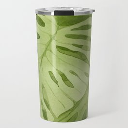 Watercolor Monstera Leaves Travel Mug