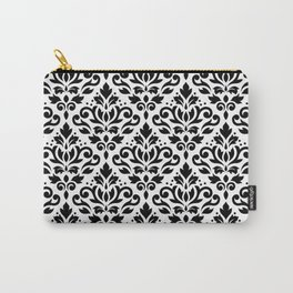 Scroll Damask Big Pattern Black on White Carry-All Pouch