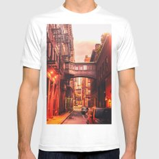 New York City Alley White Mens Fitted Tee MEDIUM