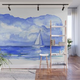 Sailboat on the Ocean Watercolor Wall Mural
