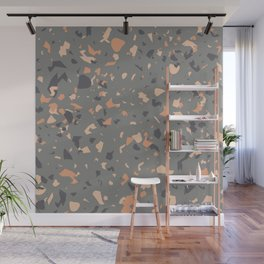 Coral and Gray Terrazzo Pattern Wall Mural
