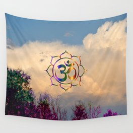 Trees Clouds Om Wall Tapestry