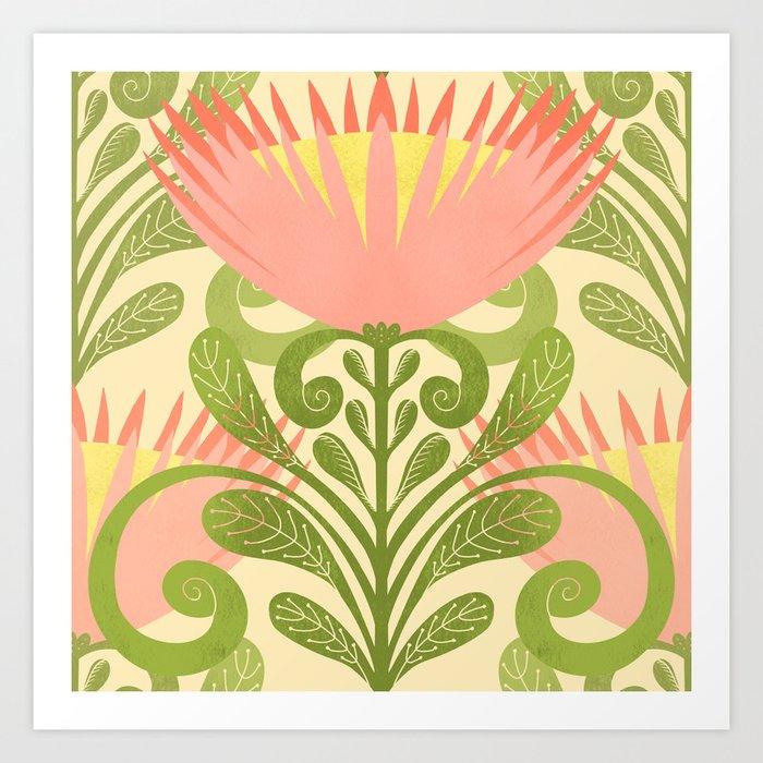 King Protea Flower Pattern - yellow Art Print