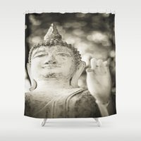 buddhism Shower Curtains featuring Buddha in Sukhothai by Maria Heyens