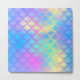 Blue Yellow Mermaid Tail Abstraction Metal Print