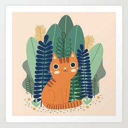 Orange Garden Cat Art Print