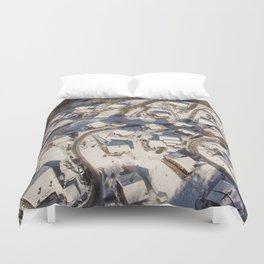 mountain village from the sky Duvet Cover