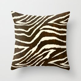 Animal Print Zebra in Winter Brown and Beige Throw Pillow