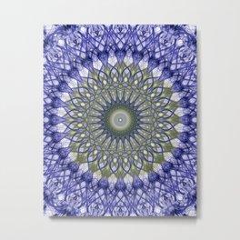 Mandala in blue and olive tones Metal Print