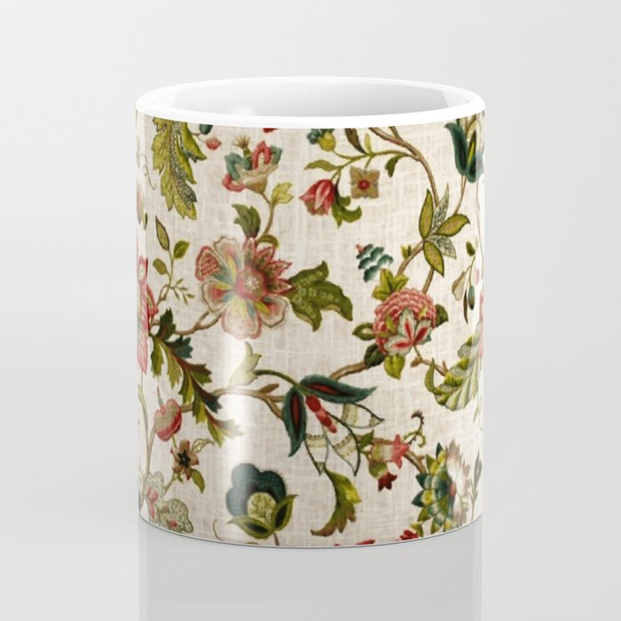 Red Green Jacobean Floral Embroidery Pattern Coffee Mug