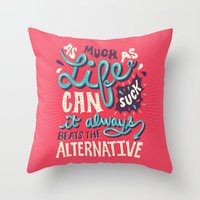 paper towns Throw Pillows featuring Paper Towns: It Beats The Alternative by Risa Rodil
