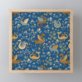 Dragons and Flowers on Classic Blue Framed Mini Art Print