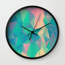 Fractured, Colorful Triangles Geometric Shapes Wall Clock