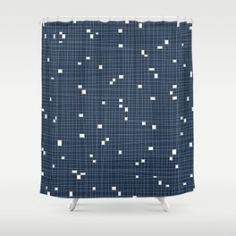 Blue and White Grid - Missing Pieces Shower Curtain