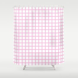 Grid (Pink & White Pattern) Shower Curtain