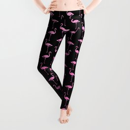 Pink Glitter Flamingo Pattern  |  Black Background Leggings